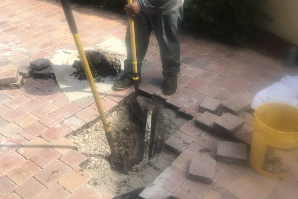 Irrigation Pipe Repair Under Pavers With No Sleeve